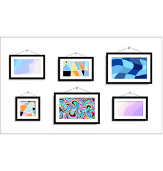 Abstract paintings hang on wall abstract art vector