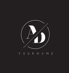 ad letter logo with cutted and intersected design vector image