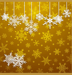 Background with hanging snowflakes vector