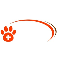background with paw and veterinarian cross vector image