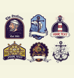 badges design collection nautical in vintage look vector image