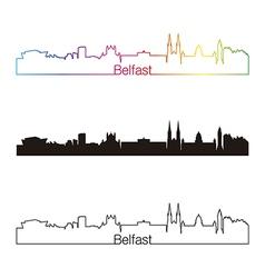 belfast skyline linear style with rainbow vector image