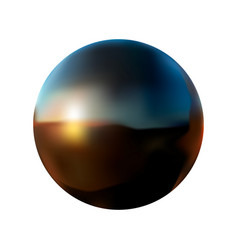 black ball with reflection on a white isolated vector image