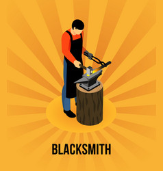 blacksmith isometric concept vector image