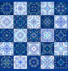blue tile collection weave patterns vector image