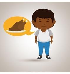 Boy cartoon chicken food vector