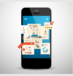 business infographic on mobile phone vector image
