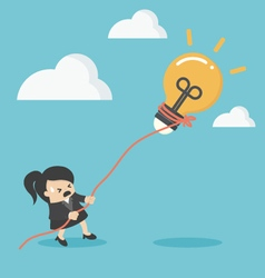 business woman pulling bulb with rope vector image