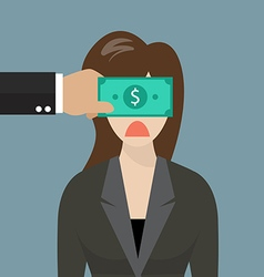 Business woman with dollar banknote taped to eyes vector