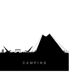 camping nature in black color vector image