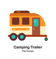 Camping trailer flat icon vector