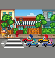 car racing in town vector image