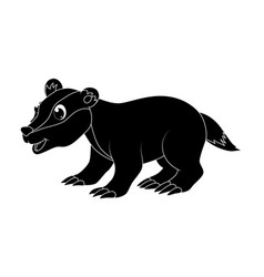 cartoon badger silhouette isolated on white vector image