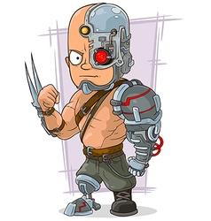 Cartoon cyborg with cool metal vector