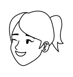 Cartoon face woman happy laughing image vector