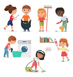 Cartoon kids cleaning at home set children vector