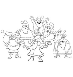 Cartoon santa group coloring page vector