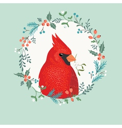 Christmas cardinal bird vector