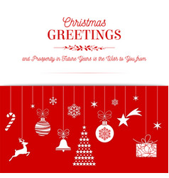 christmas greetings red card design vector image