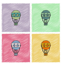 circus watercolor hot air balloon collection in vector image