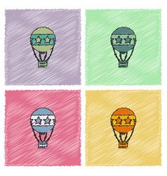 Circus watercolor hot air balloon collection vector