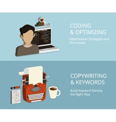 Coding and copywriting vector image