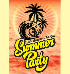 Color poster for summer party with inscription vector
