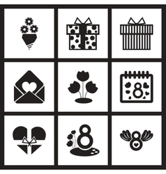 Concept flat icons in black and white Woman Day vector