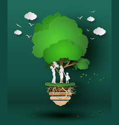 concept of eco with family vector image