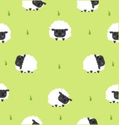cute black little sheeps seamless pattern vector image