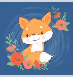Cute cartoon fox with a bouquet poppies vector