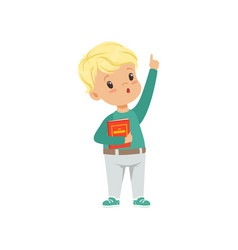 cute little boy character standing and holding a vector image
