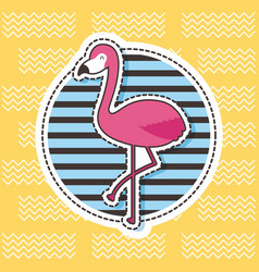 Cute patches flamingo round badge stripes fashion vector
