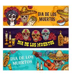 dia de muertos mexican holiday calavera skull vector image
