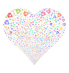 Diamond fireworks heart vector