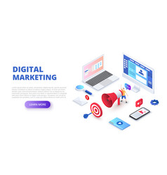 digital marketing design concept with computer vector image