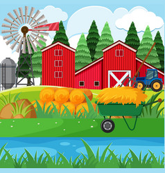 Dried hay and red barns in farmyard vector
