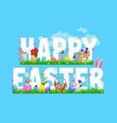 easter bunnies chicks and egg hunt basket vector image
