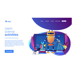 Engineering for kids concept landing page vector