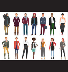 Fashion young people in stylish casual clothes vector