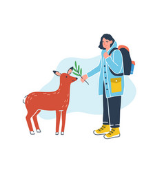 Female traveler with touristic backpack feeding vector