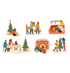 Festive christmas and winter holiday collection vector