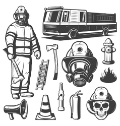 Firefighting vintage elements set vector