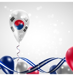 Flag of the Republic of Korea on balloon vector image