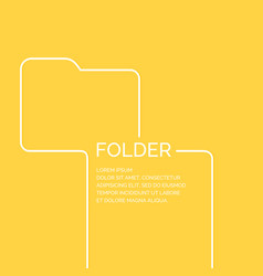 folder in a linear style on a yellow vector image