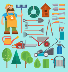 garden equipment and gardener farmer flat vector image