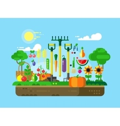 Gardening Design Flat vector image
