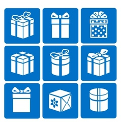 Gift box icons set on blue background vector
