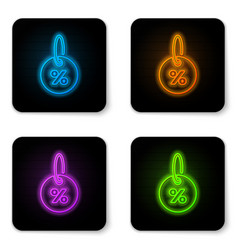 glowing neon discount percent tag icon isolated vector image