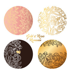 Gold and roses round stickers vector